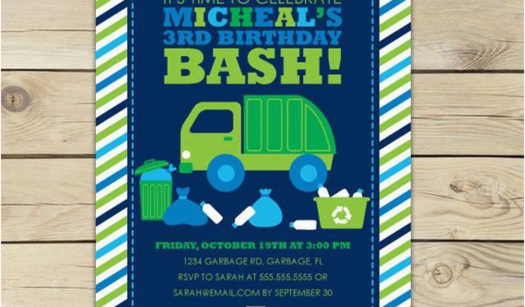 Garbage Truck Birthday Invitations Invitation
