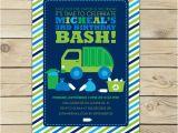 Garbage Truck Birthday Invitations Garbage Truck Invitation Printable Boy Birthday