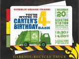 Garbage Truck Birthday Invitations Nealon Design Garbage Recycle Truck Birthday Invitation