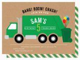 Garbage Truck Birthday Invitations Trash Truck Birthday Party Crazy Wonderful
