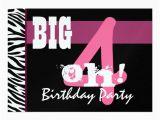 Giant 40th Birthday Card 40th Birthday Party Big 4 Oh Pink Zebra Metallic Card
