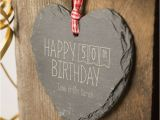 Gifts for Her 50th Birthday Special Engraved Heart Shaped Slate Hanging Keepsake Happy 50th