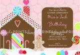 Gingerbread Birthday Party Invitations Gingerbread Printable Birthday Invitation Dimple Prints Shop