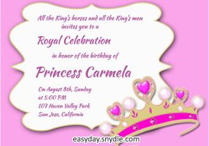 Girl Birthday Invitation Message Princess Birthday Invitation Wording Samples and Ideas