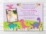 Girl Dinosaur Birthday Invitations Cute Girl Dinosaur Birthday Invitation Dinosaur Birthday