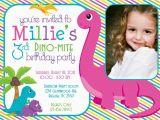 Girl Dinosaur Birthday Invitations Dino Mite Dinosaur Birthday Party 5×7 Photo Invitation Girl
