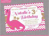 Girl Dinosaur Birthday Invitations Dinosaur Birthday Invitation Pink Gold Chevron Girl First