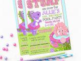 Girl Dinosaur Birthday Invitations Dinosaur Pool Party Invitation Printable Dino Birthday