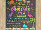 Girl Dinosaur Birthday Invitations Girl Dinosaur Invitation Girl Dinosaur Birthday Invitation