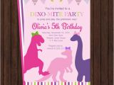 Girl Dinosaur Birthday Invitations Girls Dinosaur Birthday Invitation Party Invites Pink