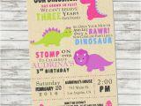 Girl Dinosaur Birthday Invitations Girls Dinosaur Birthday Invitation Pink by Picklesandposies