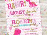 Girl Dinosaur Birthday Invitations Girly Dinosaur Invite Girl Dinosaur Birthday Pink and