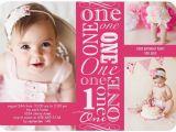 Girl First Birthday Invitations Photo Girl First Birthday Photo Invites Pink Tiny Prints