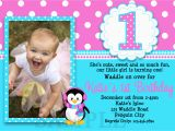 Girl First Birthday Invitations Photo Printable Birthday Invitations Girls Penguin Party