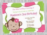 Girl Monkey Birthday Invitations Diy Girl Mod Monkey Birthday Party Invitation 2