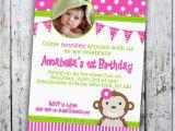 Girl Monkey Birthday Invitations Girl Monkey Birthday Invitations Best Party Ideas