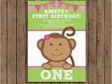 Girl Monkey Birthday Invitations Girl Monkey First Birthday Invitation Printable Pink and