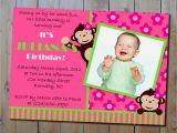Girl Monkey Birthday Invitations Mod Monkey Birthday Invitation Girls Pink and Green or Twins