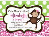 Girl Monkey Birthday Invitations Mod Monkey Invitation Pink Damask and Green Polka Dots Girl