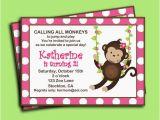 Girl Monkey Birthday Invitations Monkey Girl Invitation Printable or Printed with Free