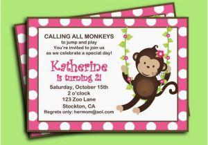 Girl Monkey Birthday Invitations Invitation Printable Or Printed With Free