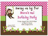 Girl Monkey Birthday Invitations Monkey Girl Printable Invitation 2