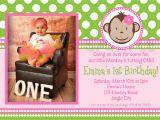 Girl Monkey Birthday Invitations Printable Birthday Invitations Girls Mod Monkey Party