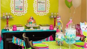 Girl Owl Birthday Party Decorations Owl Party Look whoos One Owl Birthday Girls Birthday