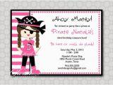 Girl Pirate Birthday Invitations Items Similar to Girl Pirate Birthday Party Invitation