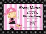 Girl Pirate Birthday Invitations Items Similar to Pirate Birthday Invitation Girl Pink