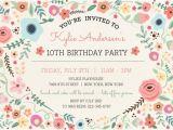 Girly Birthday Invitation Templates Girly Floral Frame Birthdday Invitation Kids Birthday