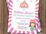 Girly Birthday Invitations Free Printable Girly Carnival Circus Invitation Birthday Party Pink by
