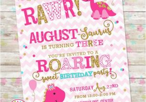 Girly Birthday Invitations Free Printable Dinosaur Invite Girl Pink And