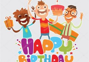 Gmail Birthday Cards Happy Birthday Card with Friends Stock Vector