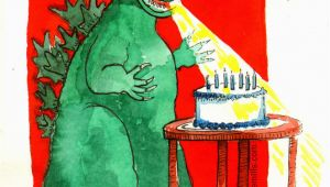 Godzilla Birthday Card Birthday Godzilla S Jane Mills