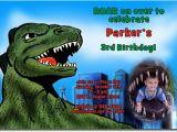 Godzilla Birthday Card Godzilla Birthday Invitations Candy Wrappers Thank You