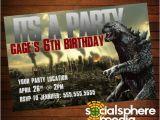 Godzilla Birthday Card Godzilla Birthday Party Invitation