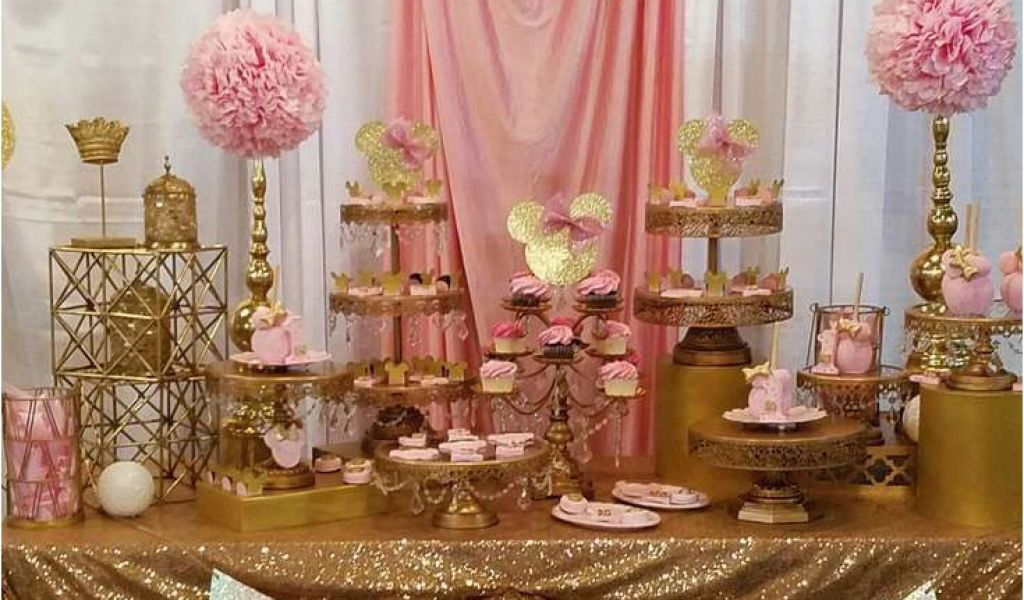 Gold Birthday Party Decorations Pink And Minnie Mouse