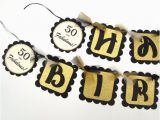 Gold Happy 70th Birthday Banner Black and Gold Glitter Happy Birthday Party Banner with Raised