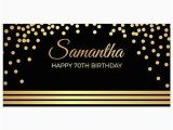Gold Happy 70th Birthday Banner Elegant Gold and Black 70th Birthday Banner Party Backdrop
