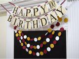 Gold Happy 70th Birthday Banner Gold Wine Happy 100th Birthday Banner Garland Adult