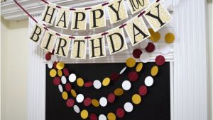 Gold Happy 70th Birthday Banner Gold Wine Happy 100th Birthday Banner Garland Adult