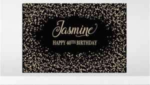 Gold Happy Birthday Banner Australia Black and Gold Backdrop Black and Gold Birthday Backdrop