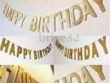 Gold Happy Birthday Banner Uk 3m Gold Glitter Banner Happy Birthday Bunting Home Party