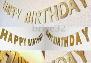Gold Happy Birthday Banner Uk 3m Gold Glitter Banner Happy Birthday Bunting Home Party