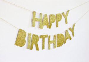Gold Happy Birthday Banner Uk Happy Birthday Banner Gold Glitter