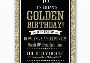 Golden Birthday Invitation Wording Party Gold Black