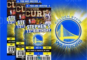 Golden State Warriors Birthday Invitations Golden State Warriors Sports Ticket Style Party Invites