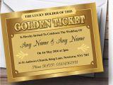 Golden Ticket Birthday Invitation Golden Ticket Personalised Wedding Invitations Ebay
