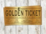 Golden Ticket Birthday Invitation Willy Wonka Birthday Golden Ticket Birthday Invitation